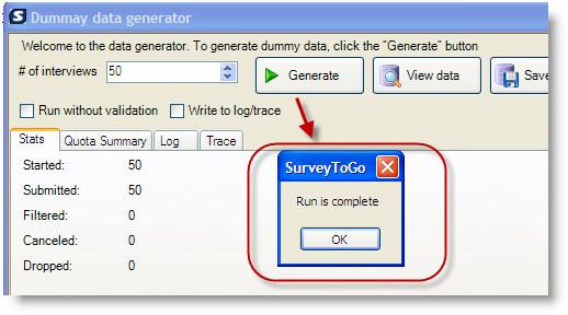 using the surveytogo dummy data generator surveytogo support center
